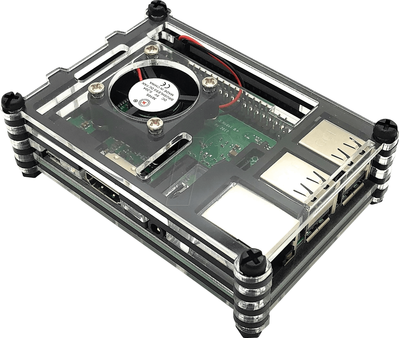 Rpi Case Stack Housing For Raspberry Pi 3 With Fan Stackable Model B Transparant Transparent Blac Sertronics