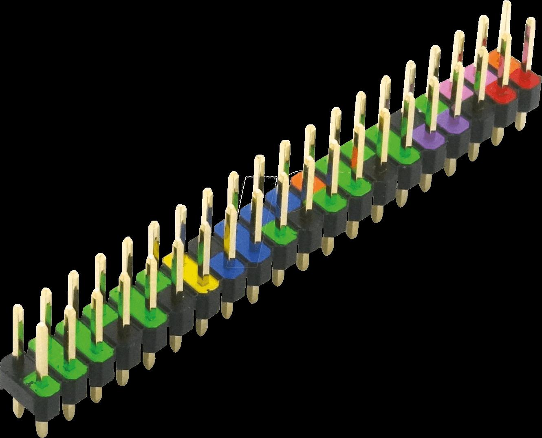 RPI HEADER CGPIO - Raspberry Pi - GPIO Header, 40-polig, RM 2,54, farblich kodiert