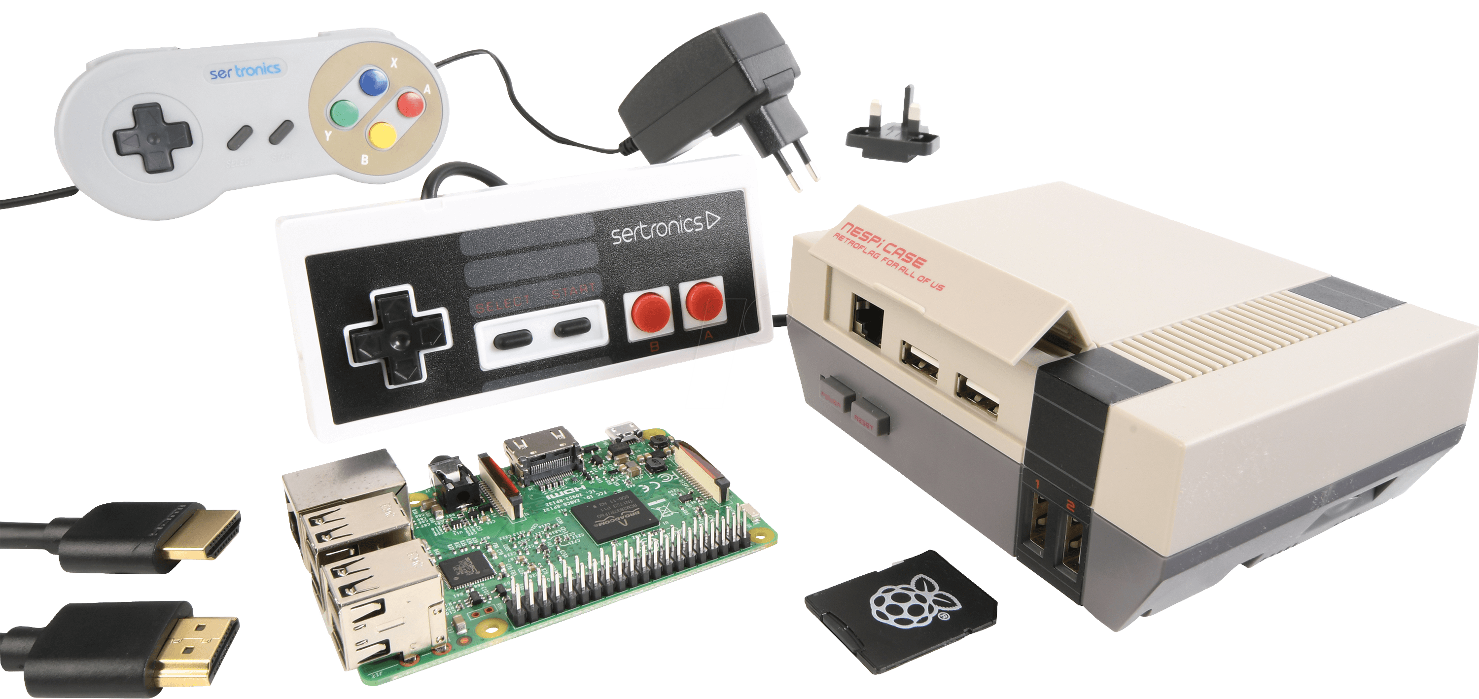 Rpi nespi bundle de raspberry pi 3 b set in nes design for Raspberry pi 3 architecture