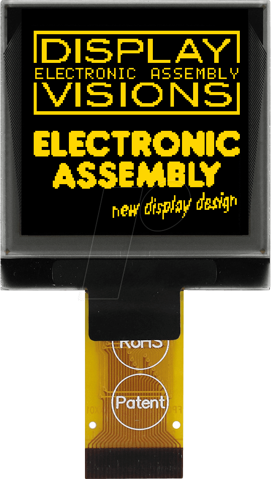 EA W128128-XALG - Square graphic OLED, 1 5 inch, 34X37mm, 128x128 dot,  yellow