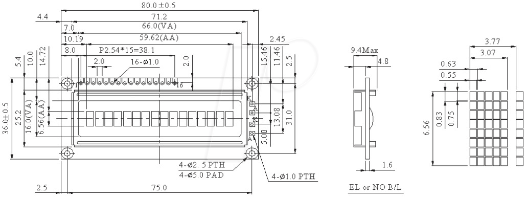 LCD-PM 1X16-7 A - LCD-Modul, 1x16, H:6,6mm, ge/...