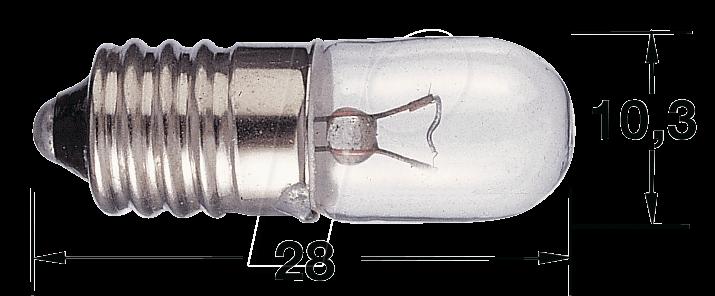 L 3511 - Skalenlampe, E10, T3 1/4, 7 V, 2,1 W, weiß