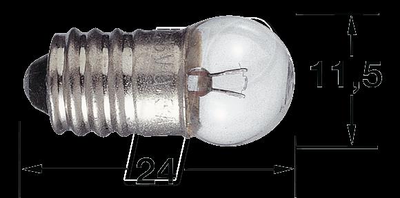 L 3968 - Kleinkugellampe, E10, 24 V, 1,2 W, weiß