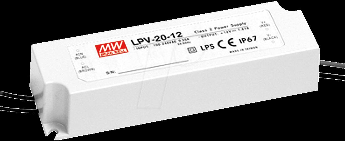 MW LPV-20-12 - Schaltnetzteil f. LED, 20W /12V /1,67A