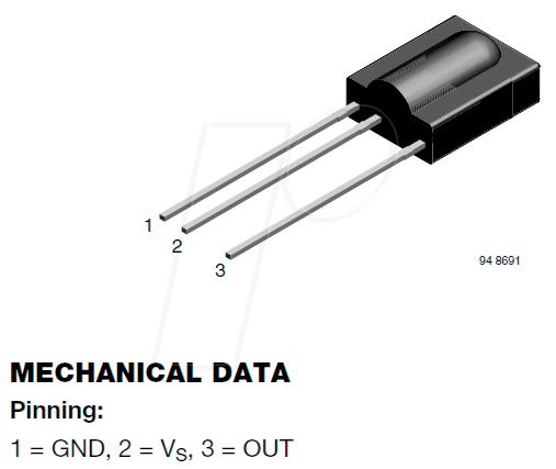 4X TSOP31238 Integrierter Infrarot-Empfänger 38kHz 45° 2,5-5,5V VISHAY
