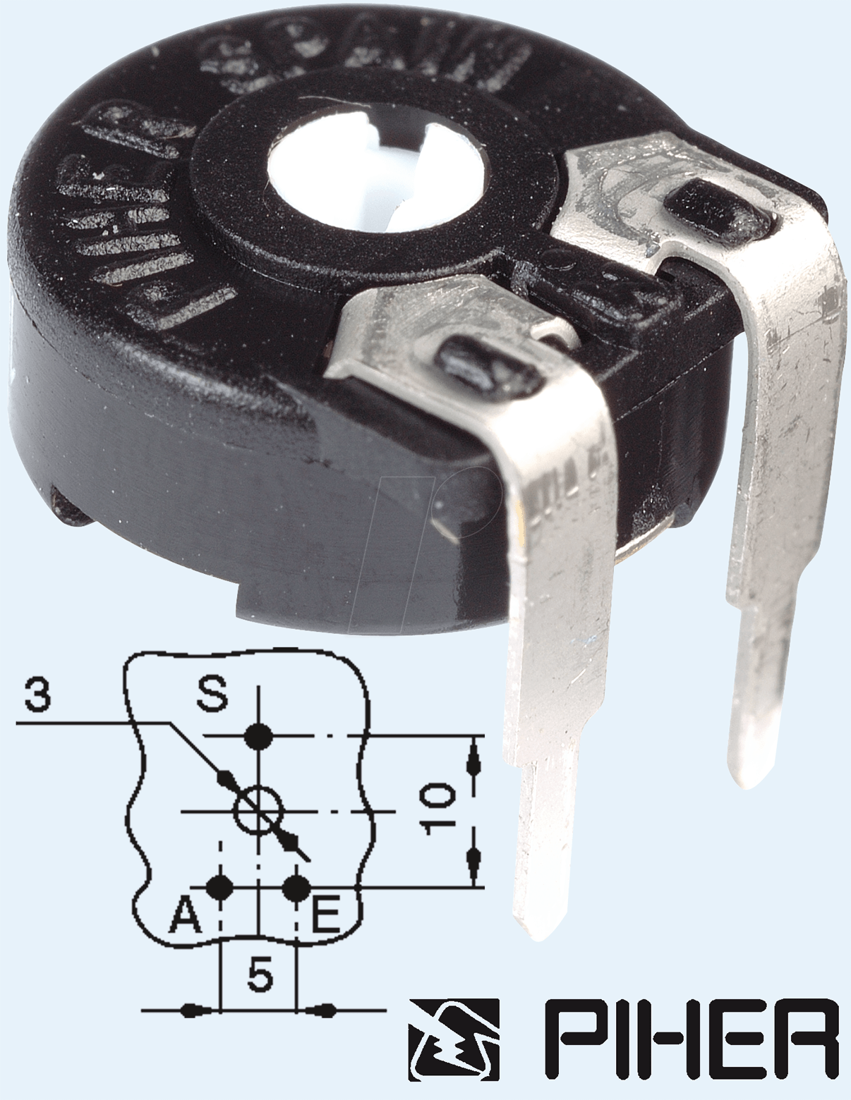 PIHER PT 10-L 2,5K - Einstellpotentiometer, liegend, 10mm, 2,5 K-Ohm