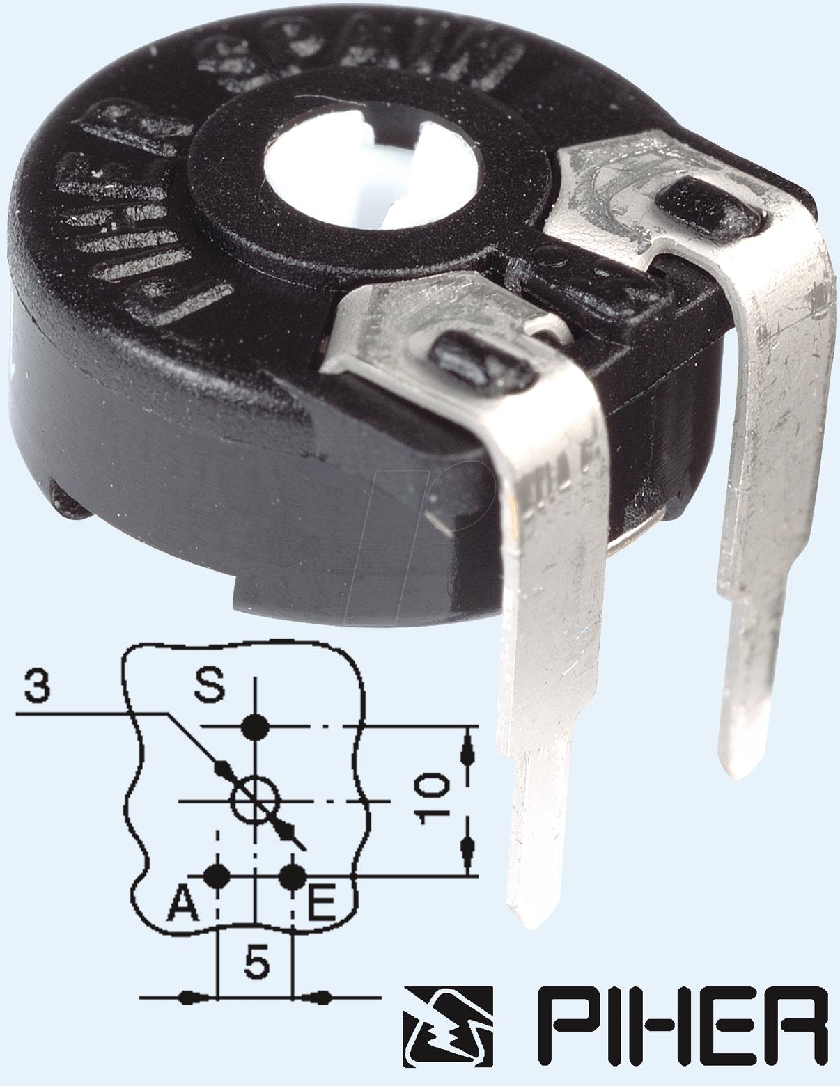 PT 10-L 100 - Einstellpotentiometer, liegend, 100 Ohm, 10 mm