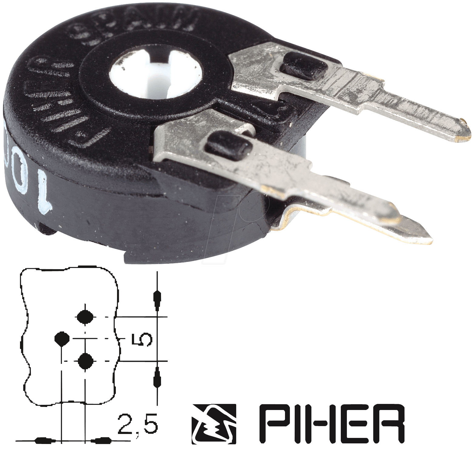 PIHER PT 10-S 10K - Einstellpotentiometer, stehend, 10mm, 10 K-Ohm