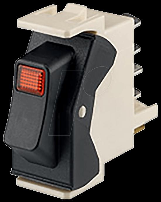RD WIPPSCHALT 1P - Wippschalter, automatische Abschaltung, 1P, schwarz