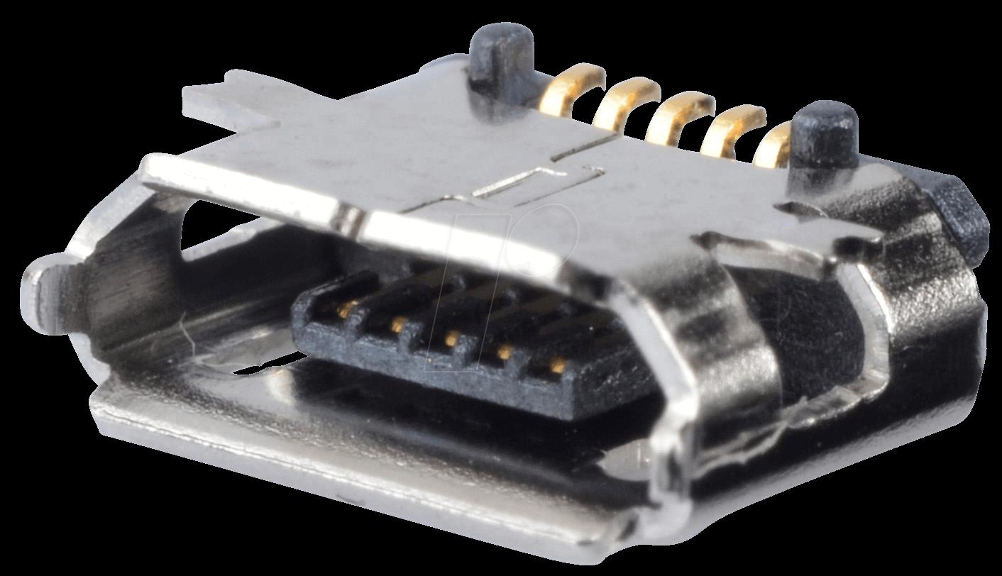 MIC USB BBU: micro-USB-Einbaubuchse, Typ B, 5-pol, SMD bei reichelt ...