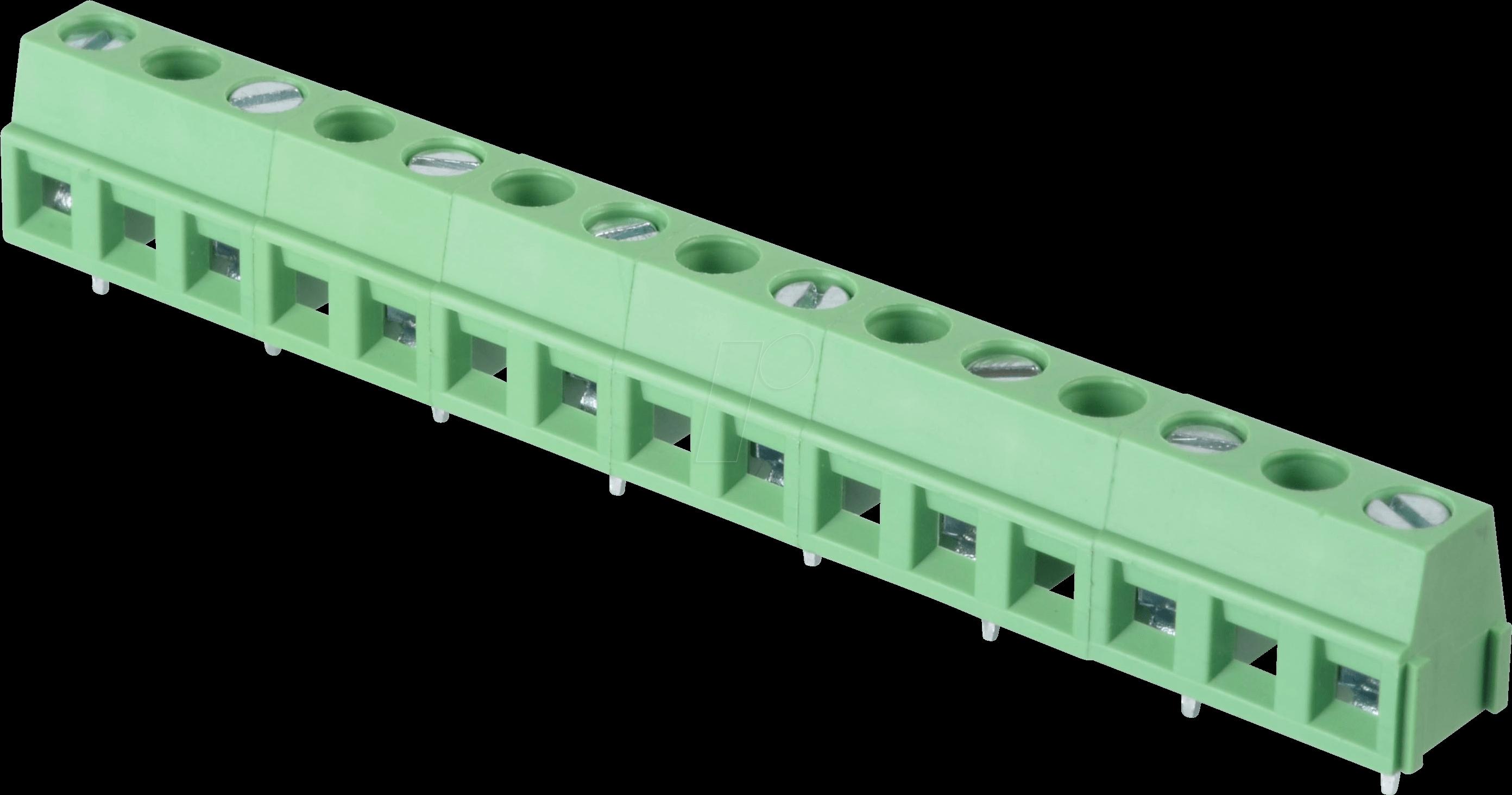 RND 205-00249 - Lötbare Schraubklemme - 8-pol, RM 10,16 mm, 90°