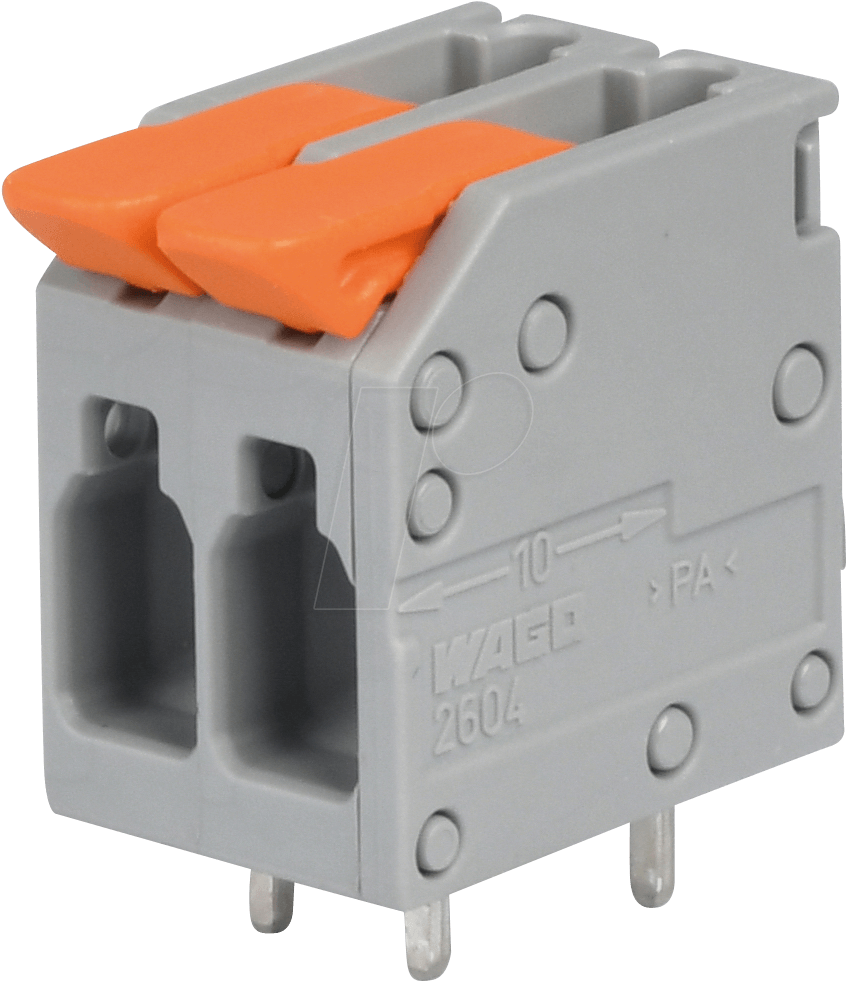 PCB terminal — RM 5 mm, 4 mm², 2-pole WAGO 2604-