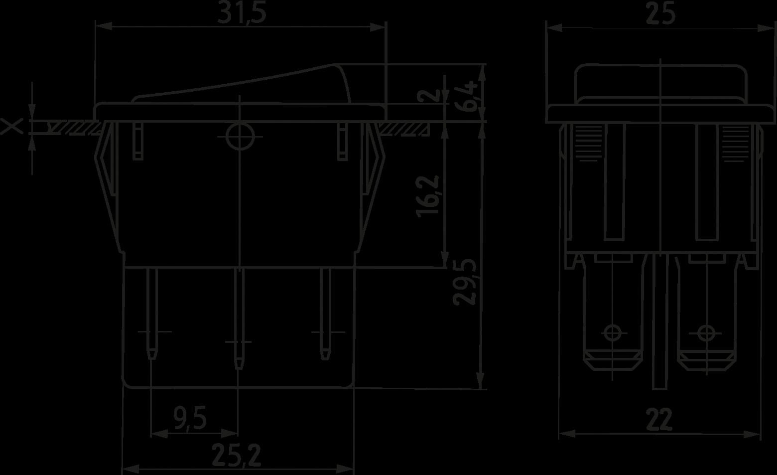 WIPPE 1839.3402: Wippschalter, 2x UM, beidseitig tastend, schwarz ...