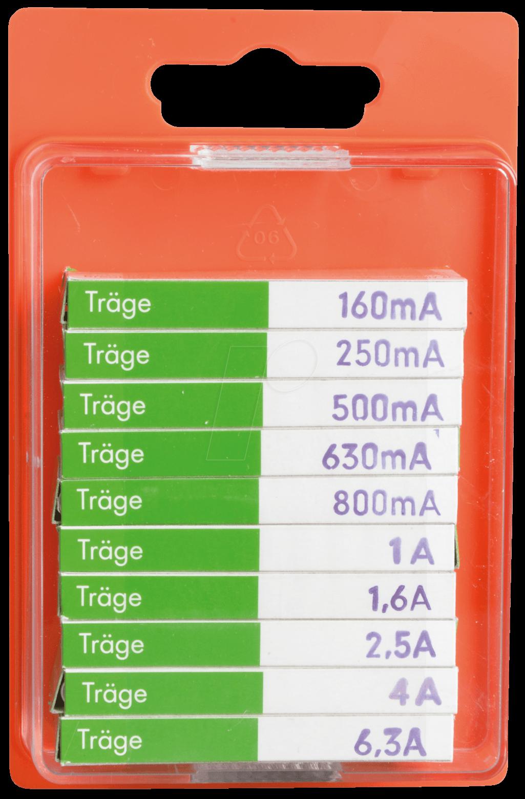 SORTIMENT TR - Feinsicherungs-Sortiment. 5x20mm, träge