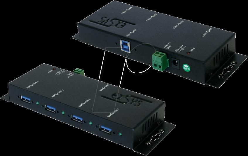 exsys ex 1184hmv usb 3 0 hub 4 port wall mount 19 rack at reichelt elektronik