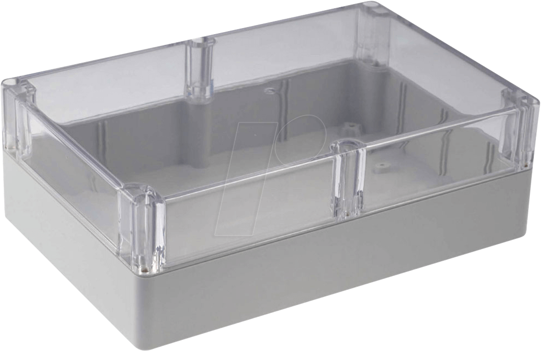Rnd 455 00190 polycarbonate box w clear lid at reichelt for Toit en polycarbonate transparent