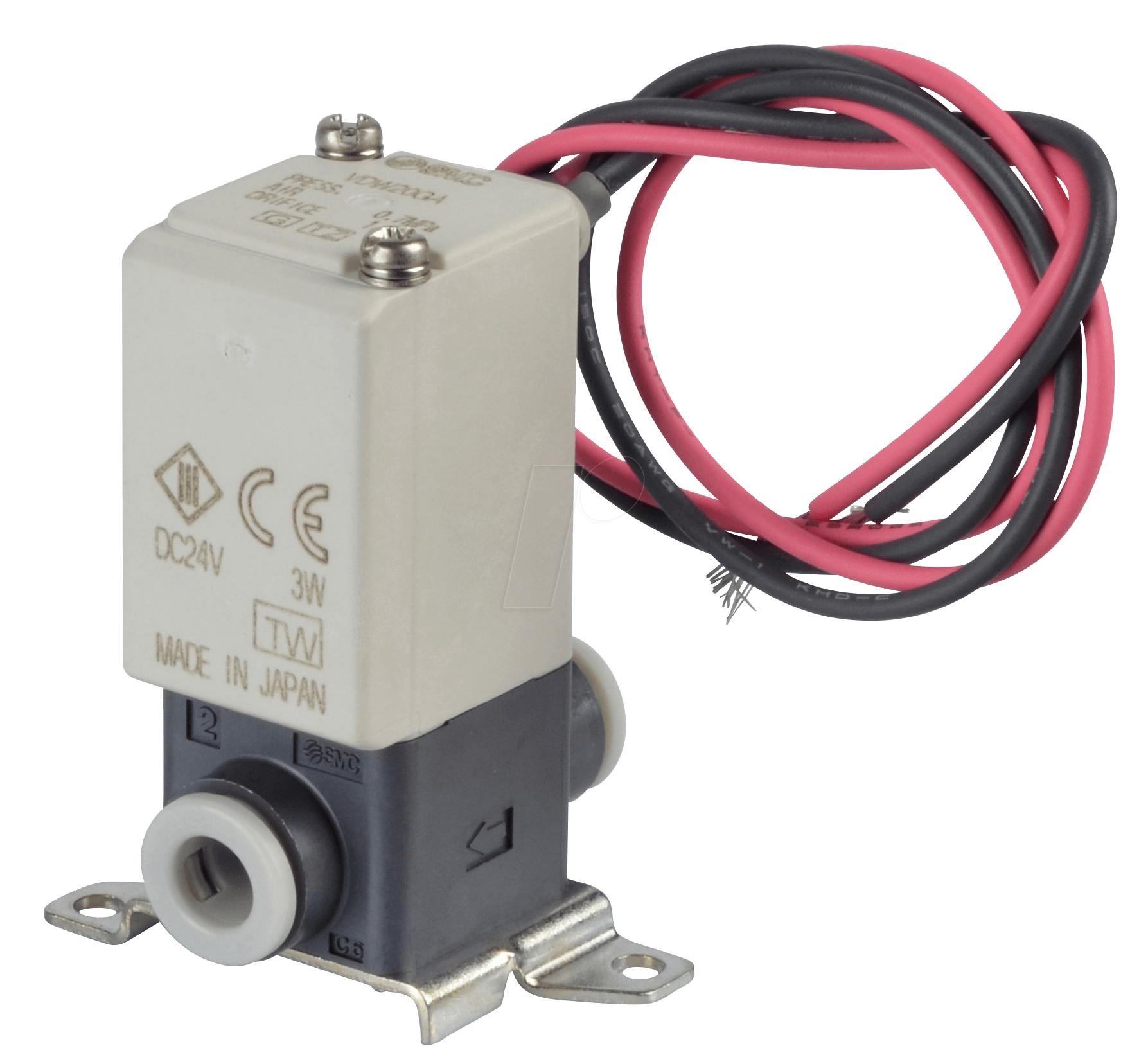 VDW20GA - Solenoid valve 2/2 for compressed air, NC, 24 VDC, plastic