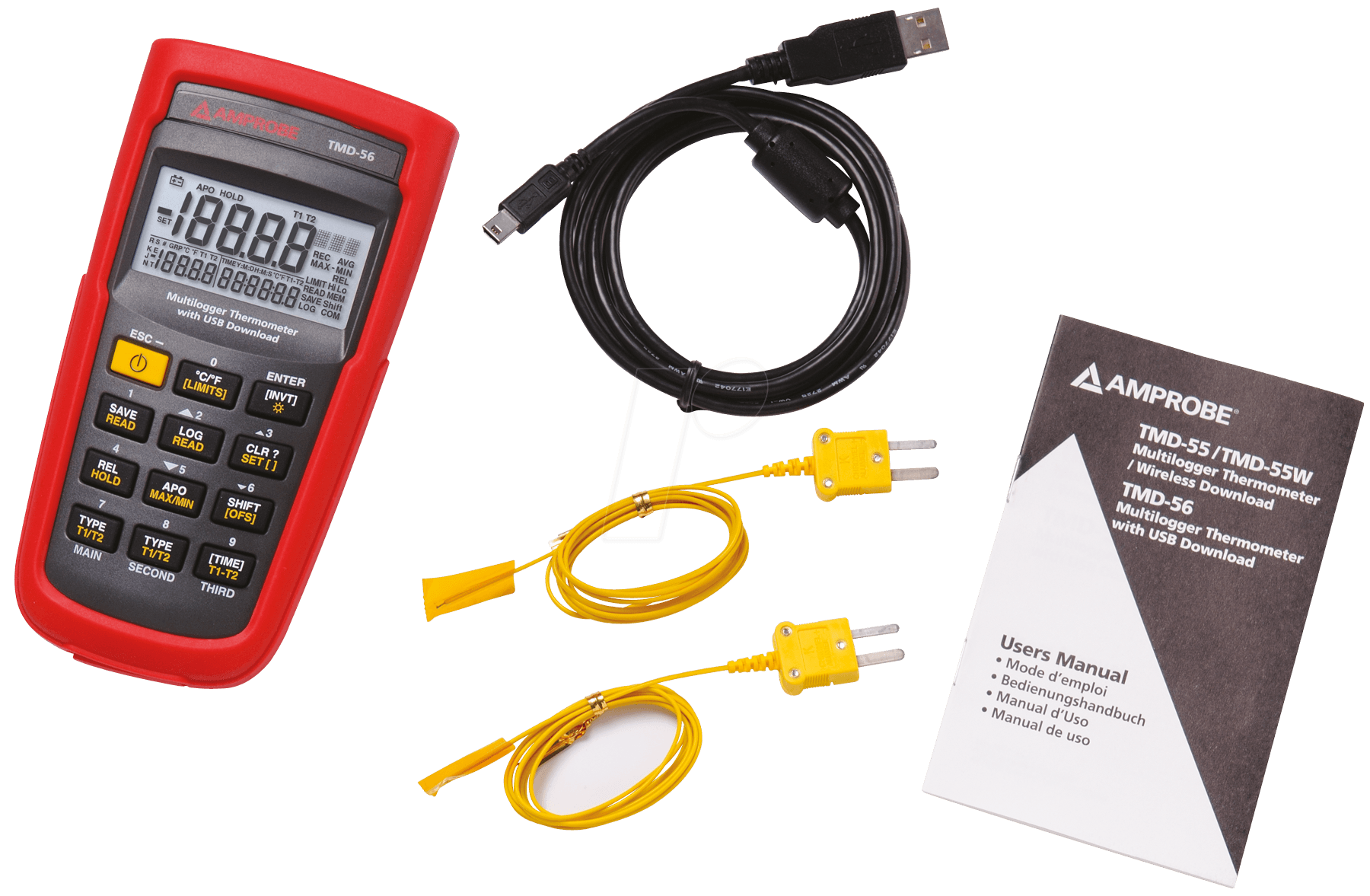Amprobe TMD-56 Digital Thermometer with 0.05/% Basic Accuracy Multi-logging