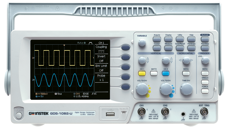 Gds 1052 U Digital Storage Oscilloscope With Usb Port 50 Mhz 2 Ch Adapter Gw Instek 01ds1052u0gt