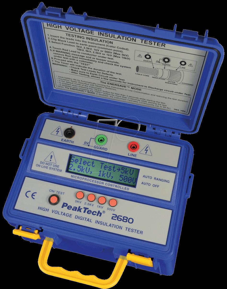 High Voltage Tester Manufacturers : Peaktech high voltage insulation tester at reichelt