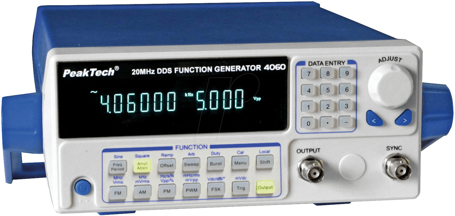 PEAKTECH 4060MV - DDS function generator 10 µHz - 20 MHz with 10 W power  amplifier