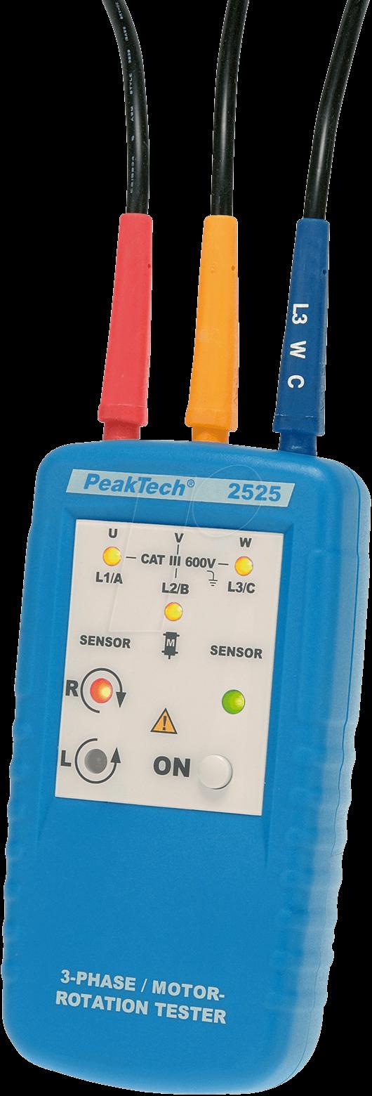 Peaktech 2525 3 phase motor rotation tester at reichelt for 3 phase motor rotation