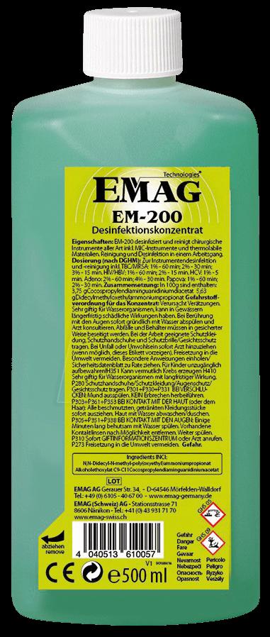 EMAG EM200 - Ultraschall-Reinigungskonzentrat, Desinfektion, 500 ml