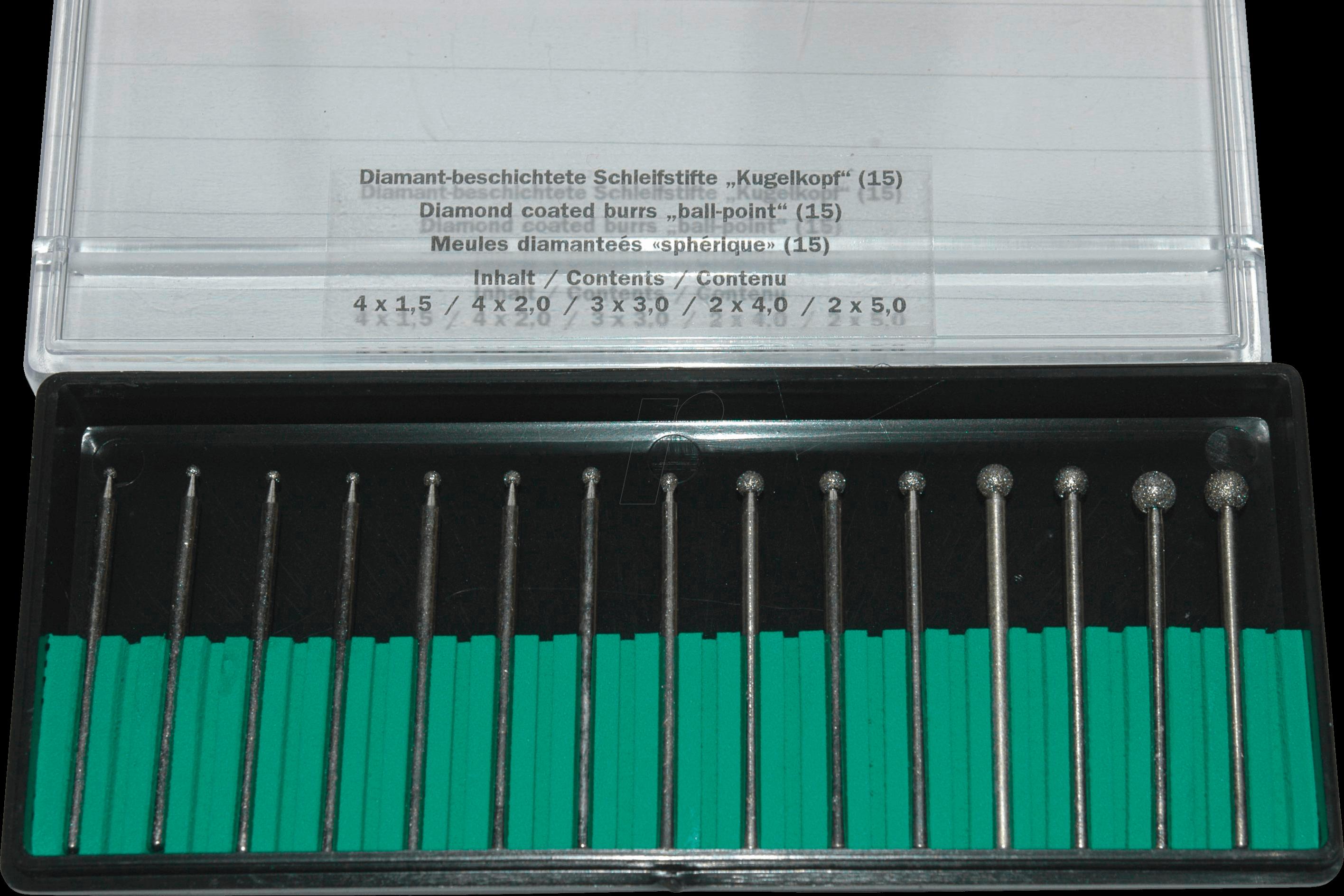 RONA 082894 - Grinding pen set, diamond, ball, 15-piece