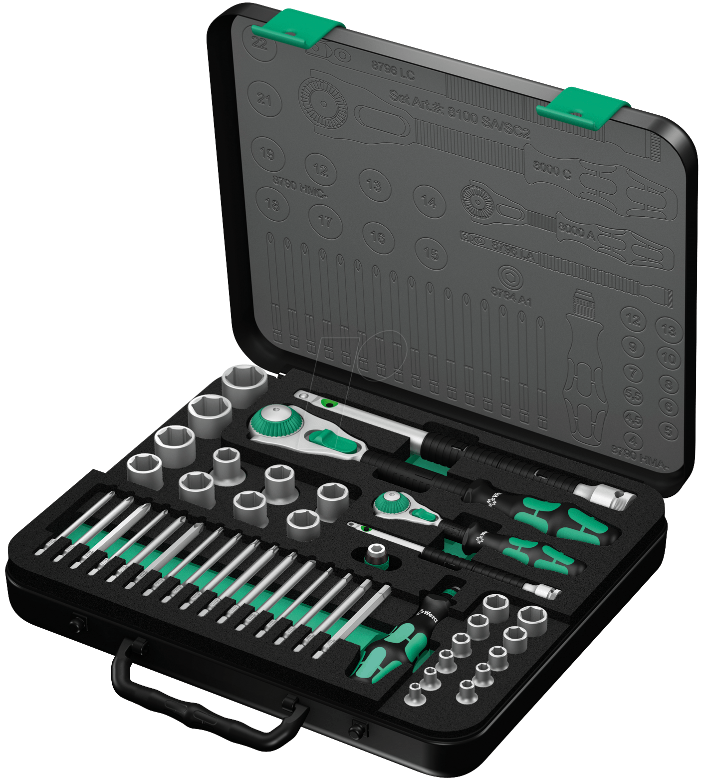 wera 8100 sasc2 zyklop socket set 1 4 12 drive at reichelt elektronik. Black Bedroom Furniture Sets. Home Design Ideas