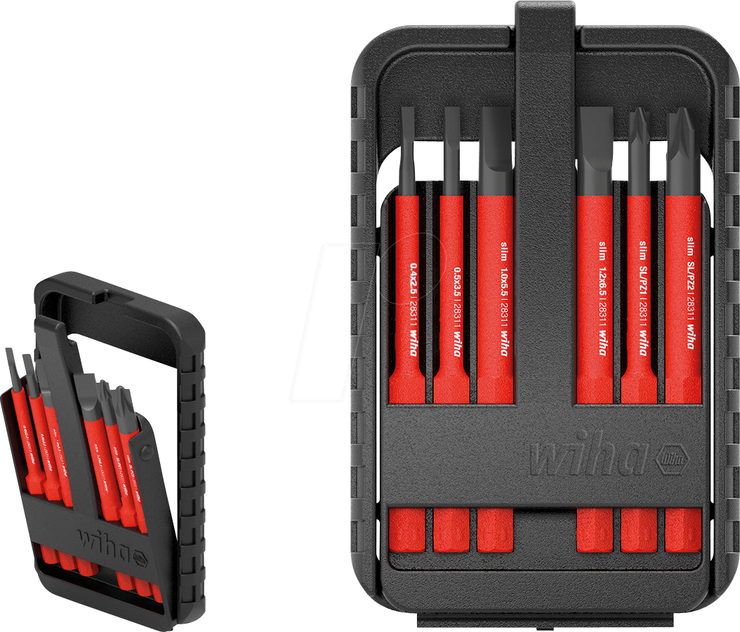 in slimBit-Box Bit Set Rot Phillips 6-TLG Wiha 43159 electricSchlitz