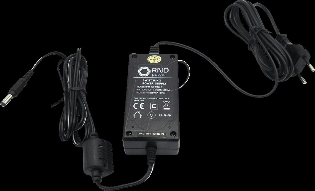 RND 320-00032 - Steckernetzteil, 27 W, 12 V, 2,25 A, stabilisiert, 2,5 mm