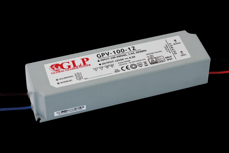 GLP GPV-100-24 - LED power supply, 100 8 W, 24 V DC, 4 2 A, TÜV-approved,  IP67