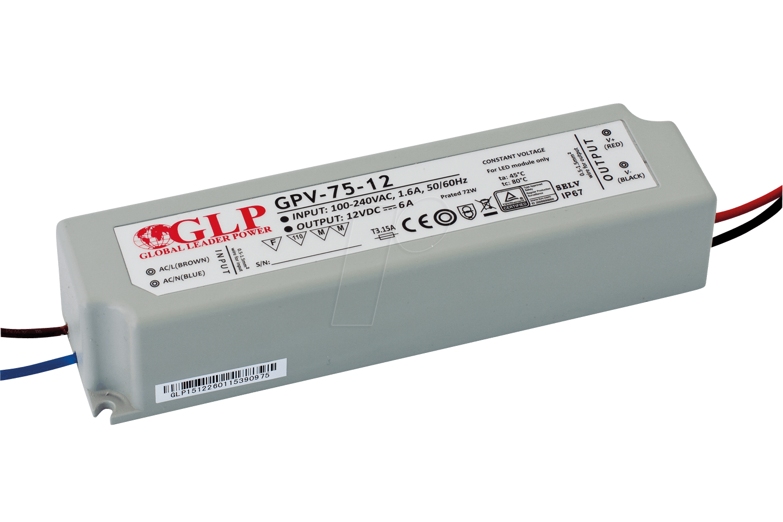 GLP GPV-75-24 - LED power supply, 72 W, 24 V DC, 3 A, TÜV-approved, IP67