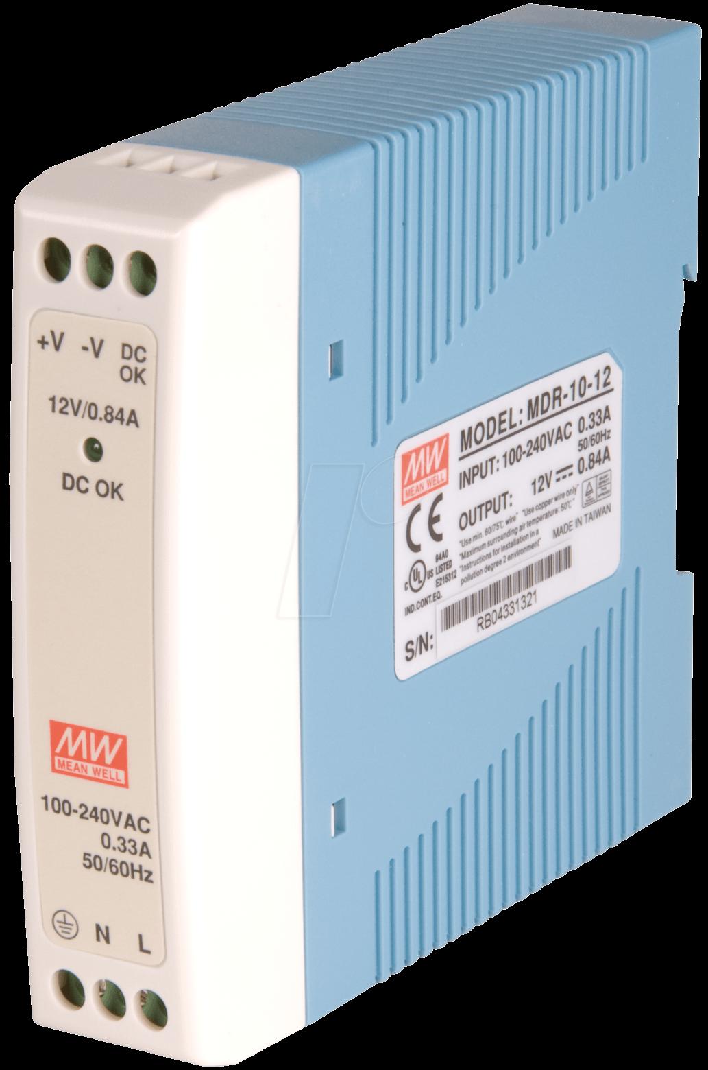SNT MW-MDR10-12 - Schaltnetzteil, DIN-Montage, 10W / 12V / 0,84A