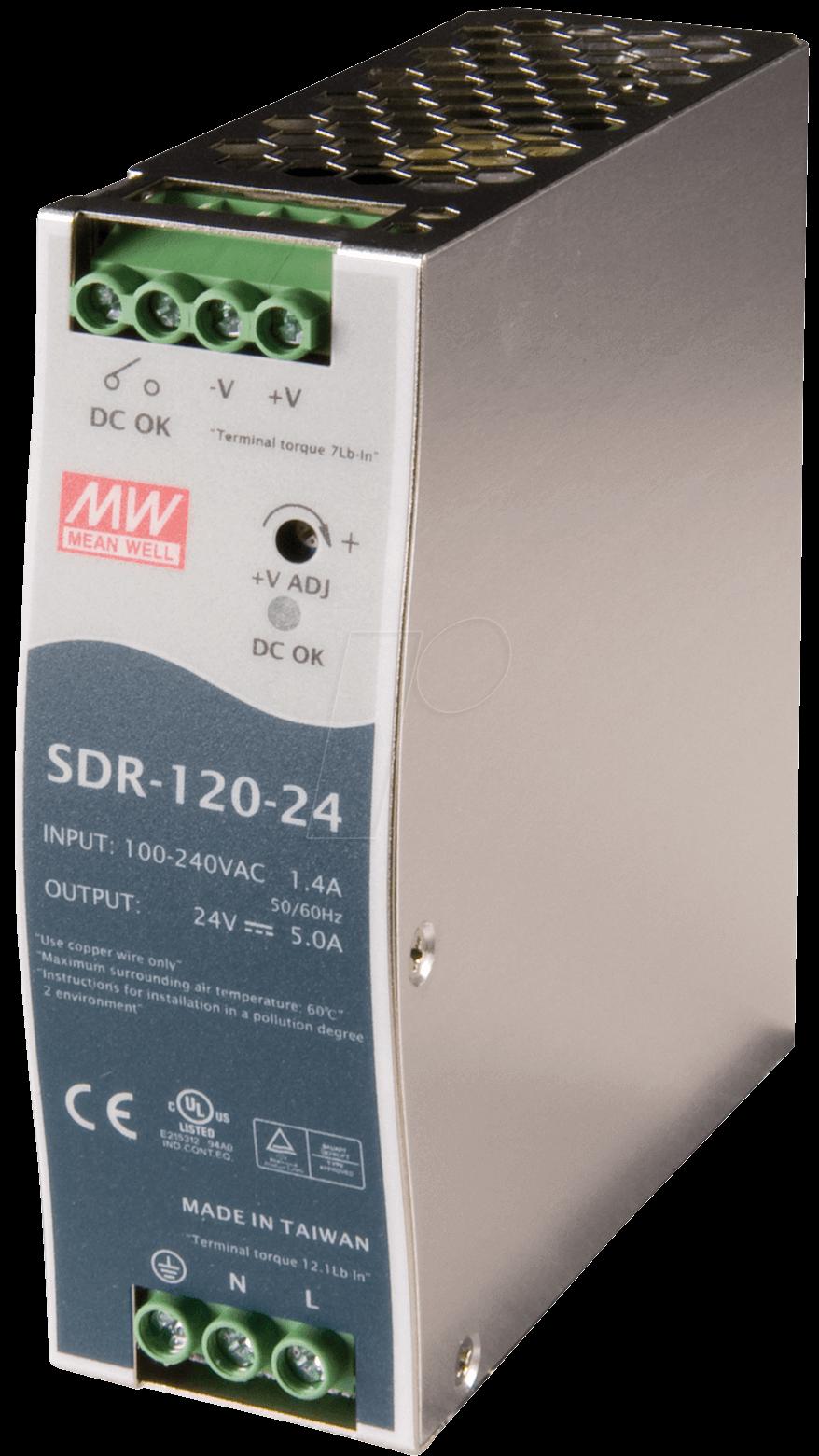 SNT MW-SDR120-12 - Schaltnetzteil, DIN-Montage, 120W / 12V / 10A