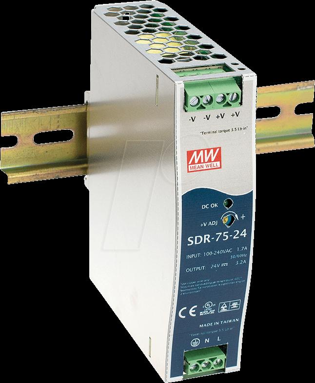 MW SDR-75-12 - Schaltnetzteil, DIN-Schiene, 75W, 12V/6,3A