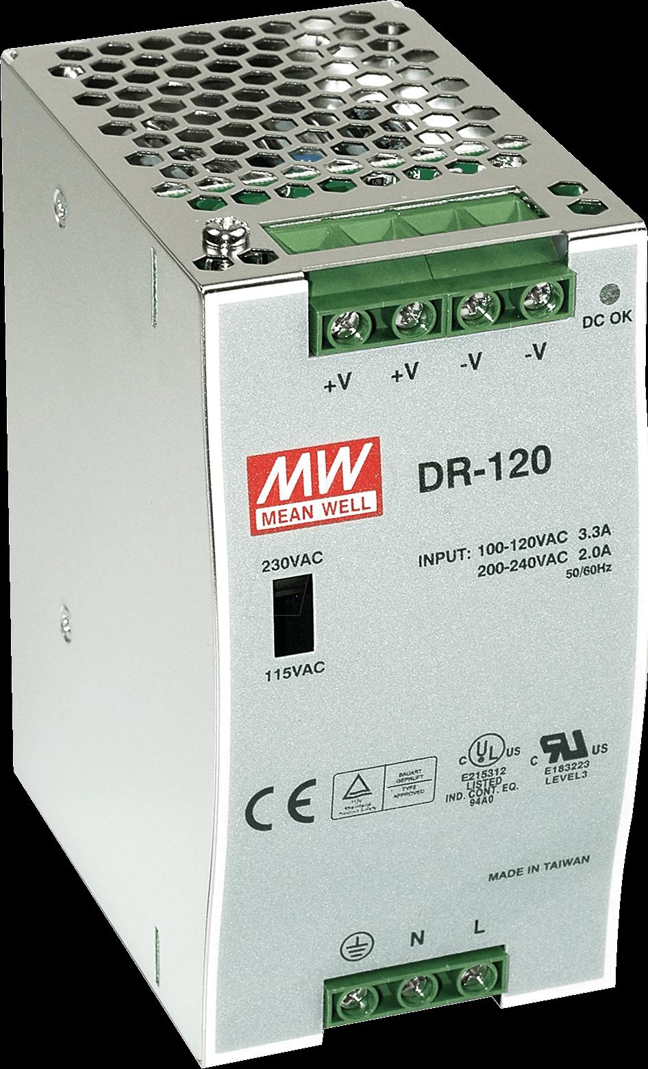 SNT MW-DR75-12 - Schaltnetzteil, DIN-Montage, 12V / 6,3A / 75W
