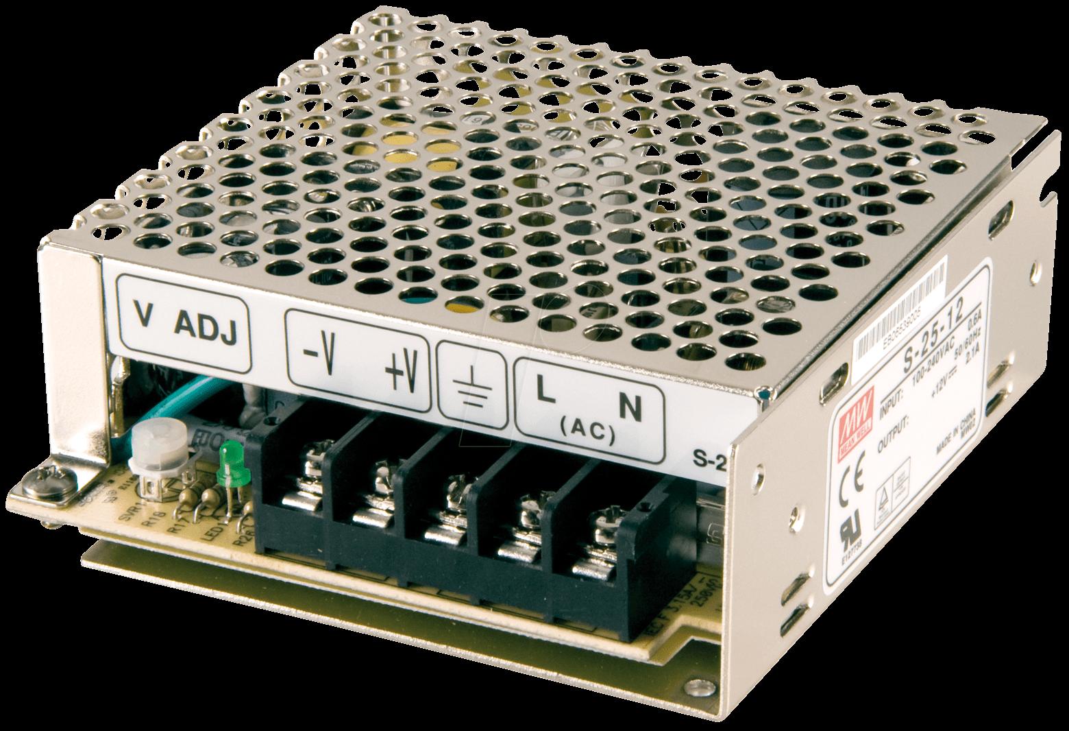SNT MW25-12 - Schaltnetzteil, geschlossen, 12V / 2,1A / 25W