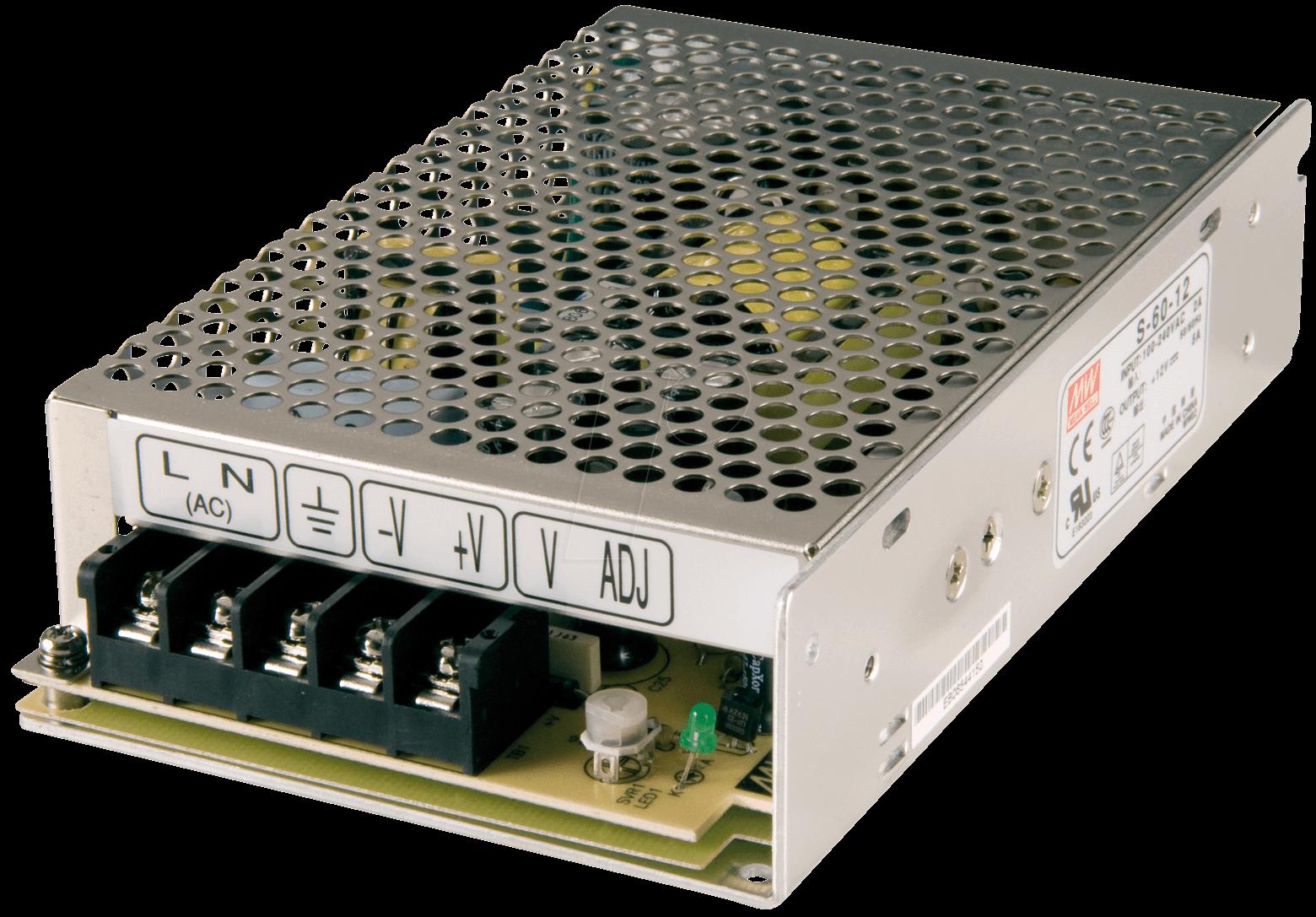 SNT MW60-12 - Schaltnetzteil, geschlossen, 12V / 5,0A / 60W