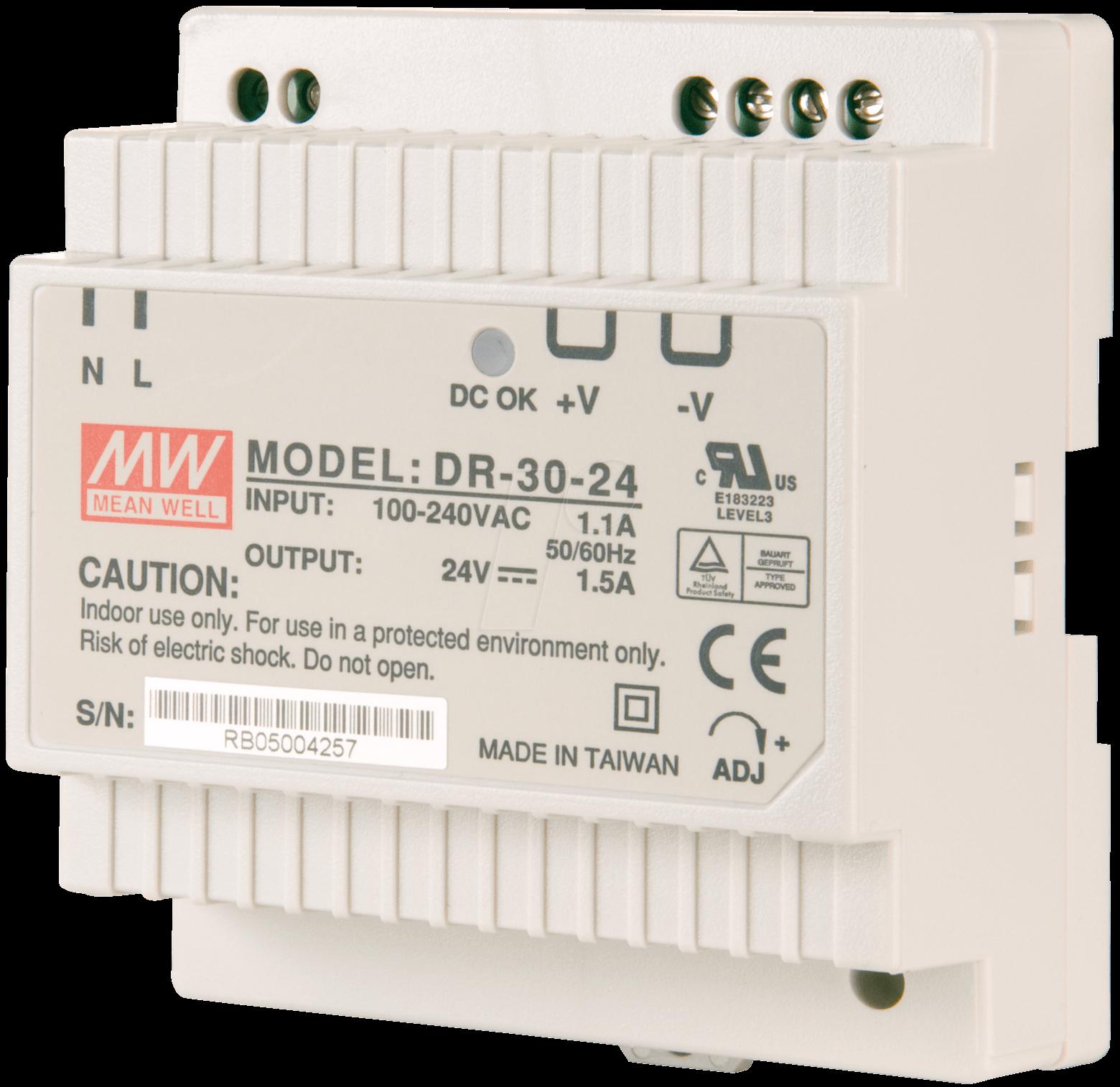 SNT MW-DR30-12 - Schaltnetzteil, geschlossen, 12V / 2,0A / 30W