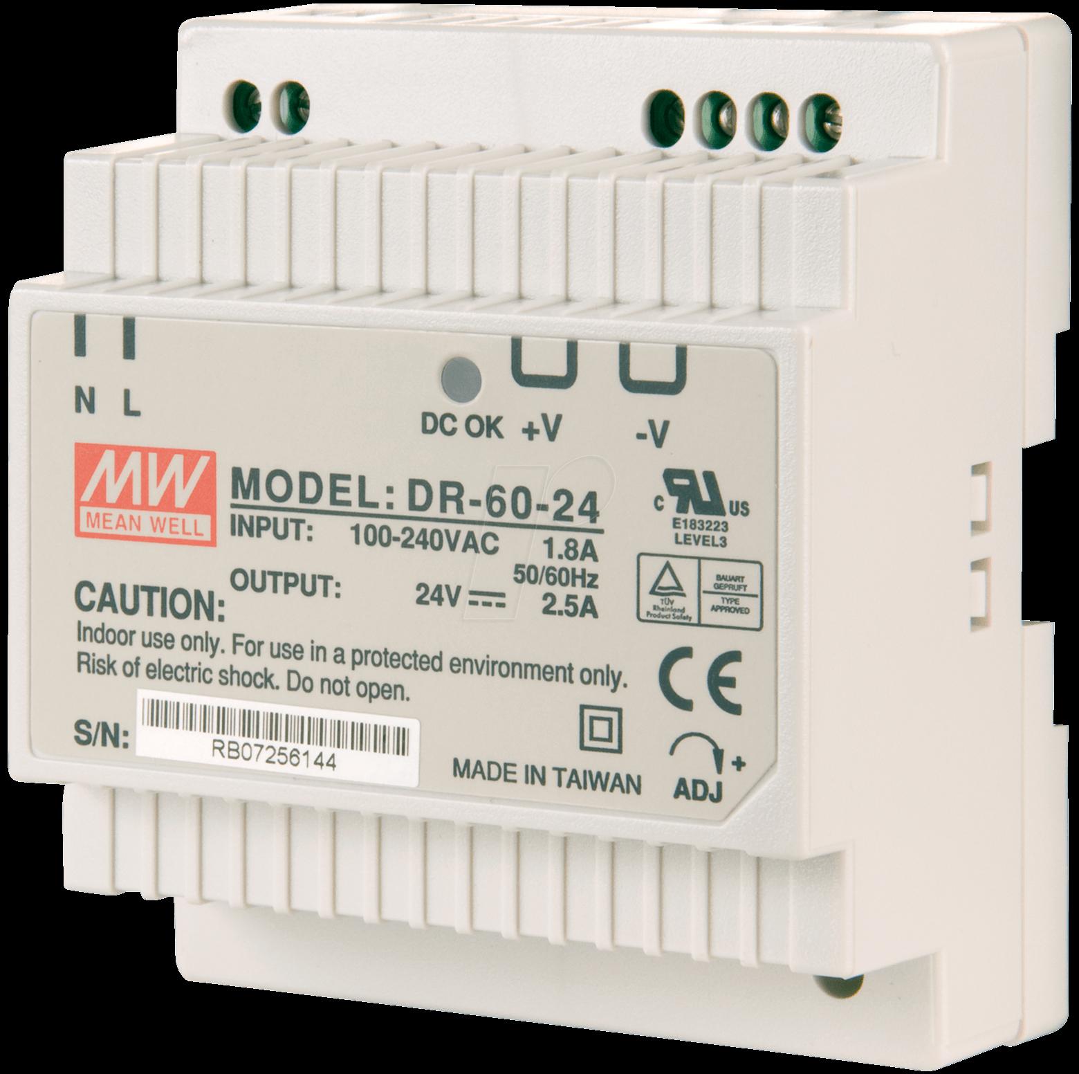 SNT MW-DR60-12 - Schaltnetzteil, geschlossen, 12V / 4,5A / 60W