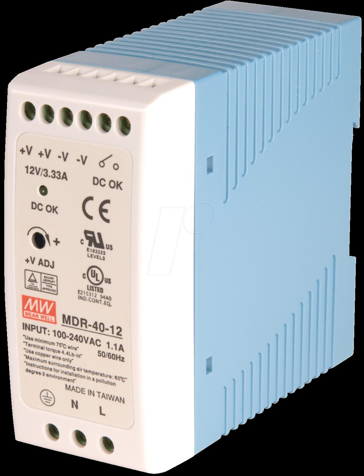 SNT MW-MDR40-12 - Schaltnetzteil, geschlossen, 12V / 3,3A / 40W