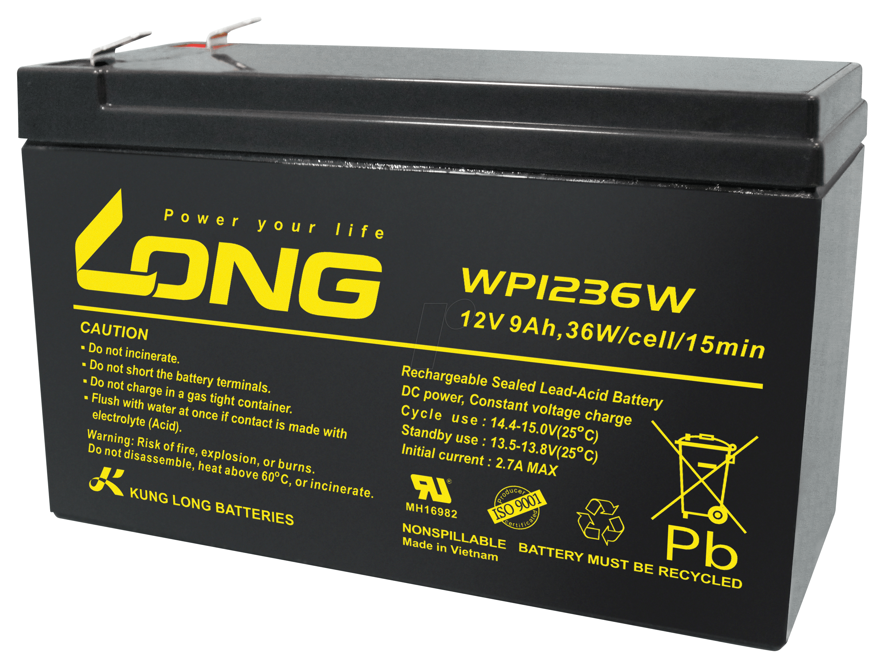 Lead Acid Battery : Wp w lead acid battery v ah at reichelt