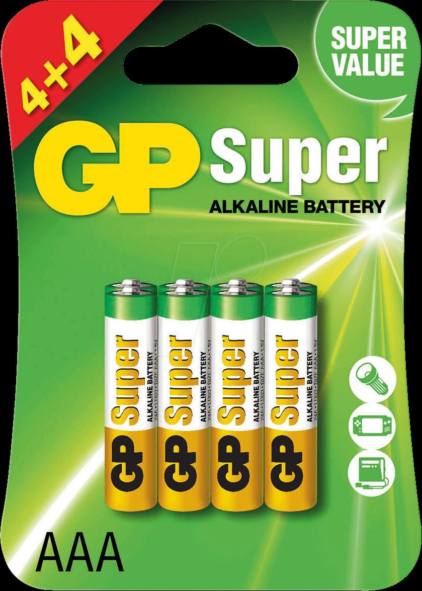 1b0143ac95eaa GP AAA 4+4PR: Alkaline battery, AAA (Micro), 8-pack at reichelt ...
