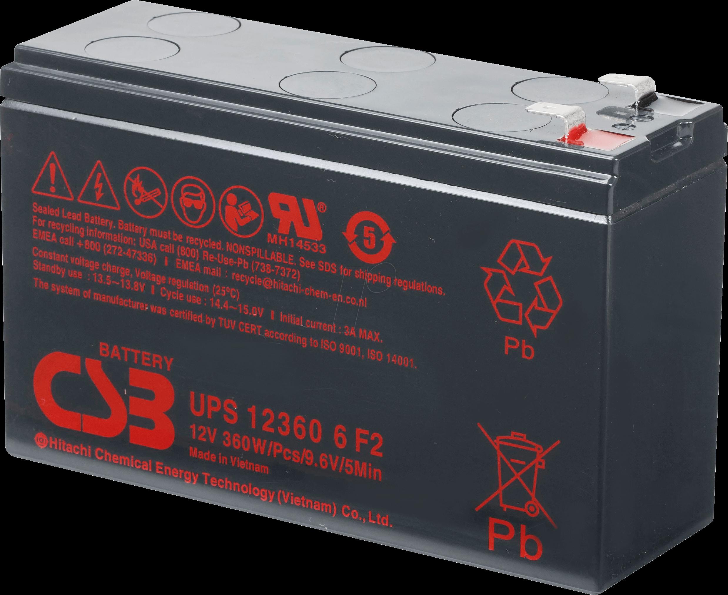 Lead Acid Battery >> Csb Ups123606 Maintenance Free Lead Acid Battery 12 V 7 Ah