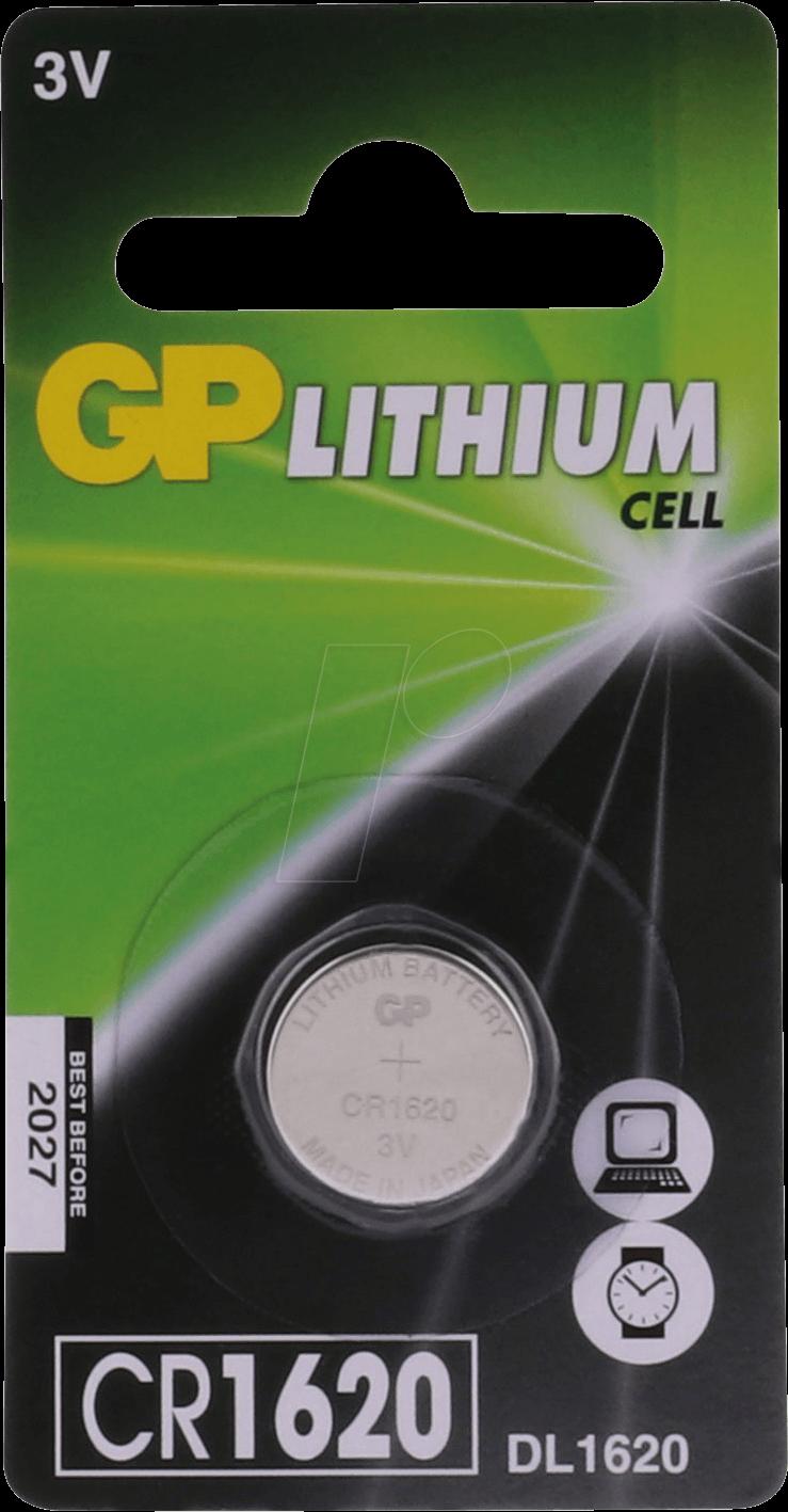 CR 1620 GP - Lithium-Knopfzelle, 3 V, 78 mAh, 16,0x2,0 mm