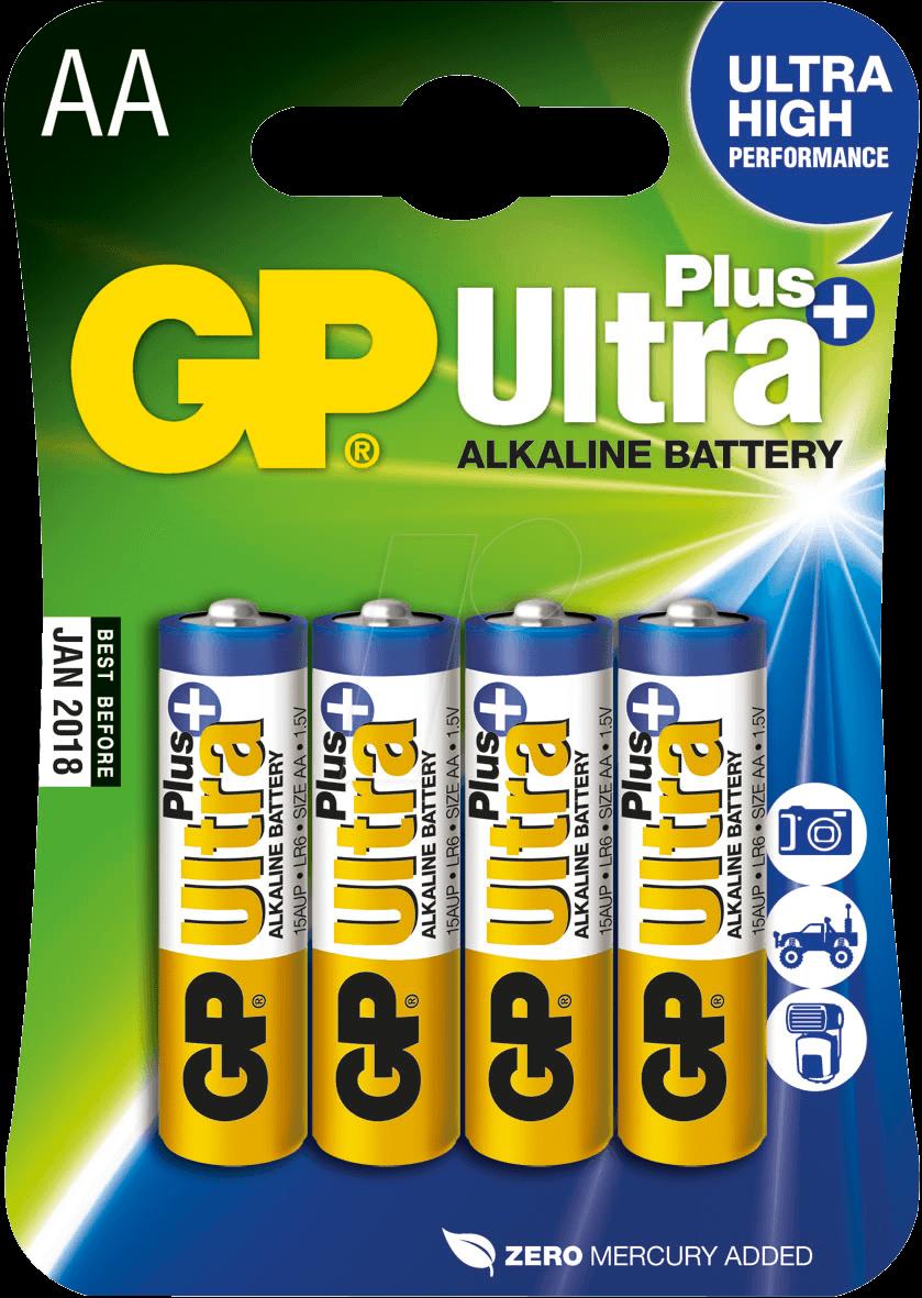 GP UP4 MIGNON - Ultra-Plus, Alkaline Batterie, AA (Mignon), 4er-Pack