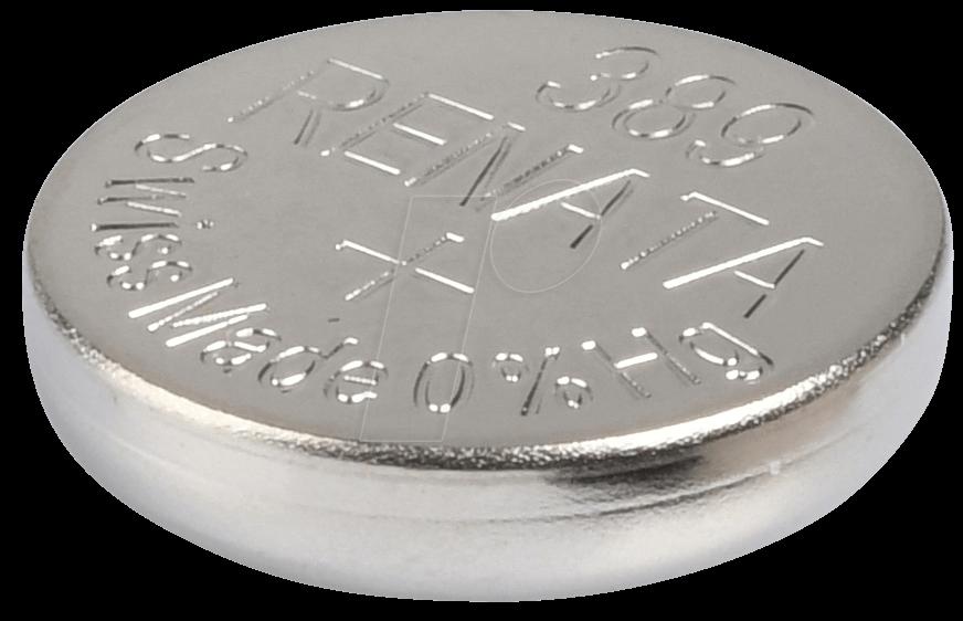 RENATA 389 - Silberoxid-Knopfzelle, 389, 80 mAh, 11,6 x 3,1 mm