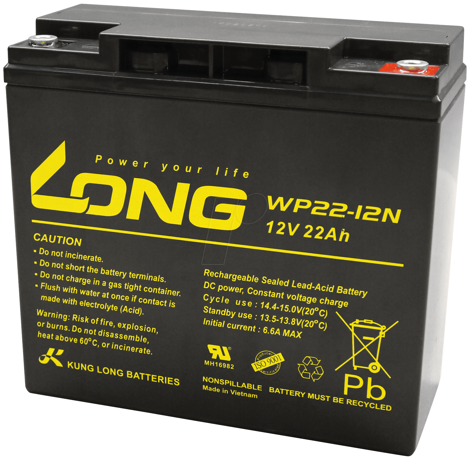 Wp 22 12 Maintenance Free Rechargeable Lead Fleece Battery Ah Re Charging A Car With Computer Power Supply V Kung Long
