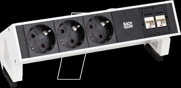 BACH 902.357: Tischsteckdose, 3-fach, Typ F, 2 x LAN, schwarz bei reichelt elektronik